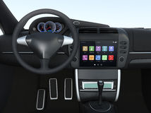 Smart touch screen multimedia system for automobile. Original design Stock Images