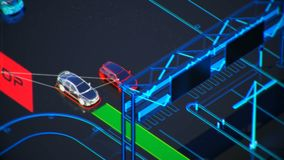 Autonome transportation system concept, smart city, Internet of things, vehicle to vehicle, vehicle to infrastructure. Smart transportation technology concept stock video