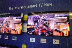 Smart TV. At Samsung market in AFI Palace Cotroceni,Bucharest ,Romania royalty free stock images