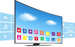 Smart Tv and Apps. Application coming out  from Smart TV on white background Royalty Free Stock Image