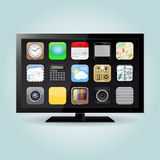 Smart TV with Apps icons. Smart TV display screen with apps icons isolated on soft background. Vector illustration Royalty Free Stock Photos