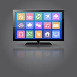 Smart TV with apps icons Stock Images