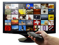 Smart TV avec des photos Photos stock