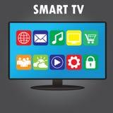 Smart TV avec différentes icônes, conception plate Photo libre de droits