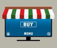 Smart TV avec différentes icônes, conception plate Photographie stock