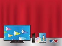 Smart TV avec la boîte de film de dvd et les verres 3d à distance Photos stock
