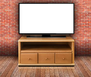 Smart tv with blank screen in modern living room Royalty Free Stock Photo