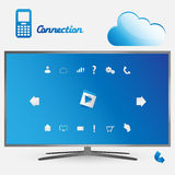 Smart tv and the cloud Royalty Free Stock Image