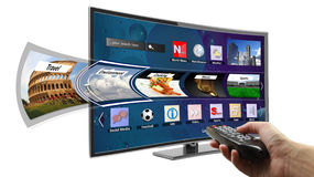 Smart TV con i apps Immagini Stock