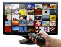 Smart TV con le foto Fotografie Stock