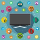 Smart TV, conception plate Photographie stock libre de droits