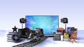 Smart TV, contenido del canal de televisión del entretenimiento para el concepto de la película stock de ilustración