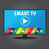 Smart TV with different icons, flat design Royalty Free Stock Photos