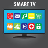 Smart TV with different icons, flat design Royalty Free Stock Photo