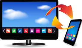Smart TV et Smartphone Photo stock