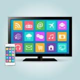 Smart TV et smartphone avec des icônes d'APP Photos libres de droits