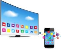 Smart TV et téléphone intelligent avec Apps Images libres de droits