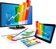 Smart TV et Tablette avec le graphique 3d Photographie stock libre de droits