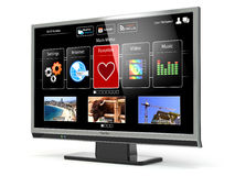 Smart TV flat screen lcd or plasma with web interface.Digital br Stock Photo