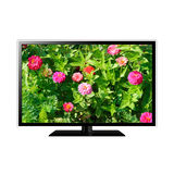 Smart TV with flowers on screen Stock Photos