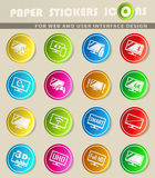 Smart tv icon set. Smart tv icons on color paper stickers for your design Royalty Free Stock Photo
