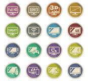 Smart tv icon set. Smart tv web icons on color paper labels Royalty Free Stock Photography