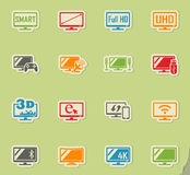 Smart tv icon set. Smart tv web icons on color paper stickers for user interface Royalty Free Stock Image