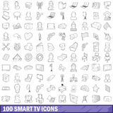 100 smart tv icons set, outline style. 100 smart tv icons set in outline style for any design vector illustration Royalty Free Illustration