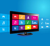 Smart TV. Internet television concept: colorful application icons on blue background Royalty Free Stock Photos