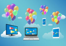 Smart TV,Laptop,Smartphone,and Tablet Floating with Fancy Balloon Royalty Free Stock Images