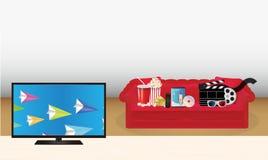 Smart tv med exponeringsglas för maskering 3d för sinnesrörelse för biljett för cd för diskett för film för pophavre för dvd för  Arkivbild