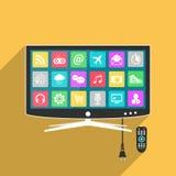 Smart TV med fjärrkontroll, lägenhetstilillustration Royaltyfri Foto