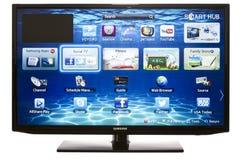 Smart TV med Samsung Apps och rengöringsdukwebbläsaren Arkivfoto