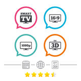 Smart TV mode icon. 3D Television symbol. Stock Images
