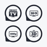 Smart TV mode icon. 3D Television symbol. Smart TV mode icon. Aspect ratio 16:9 widescreen symbol. Full hd 1080p resolution. 3D Television sign. Flat icon Stock Photos