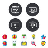 Smart TV mode icon. 3D Television symbol. Smart TV mode icon. Aspect ratio 4:3 widescreen symbol. 3D Television sign. Calendar, Information and Download signs Royalty Free Stock Photos