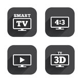 Smart TV mode icon. 3D Television symbol. Royalty Free Stock Image