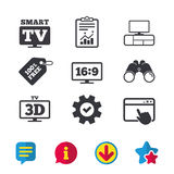 Smart TV mode icon. 3D Television symbol. Smart TV mode icon. Aspect ratio 16:9 widescreen symbol. 3D Television and TV table signs. Browser window, Report and Stock Photography