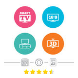Smart TV mode icon. 3D Television symbol. Stock Image