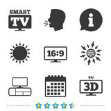 Smart TV mode icon. 3D Television symbol. Smart TV mode icon. Aspect ratio 16:9 widescreen symbol. 3D Television and TV table signs. Information, go to web and Royalty Free Stock Photos