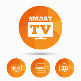 Smart TV mode icon. 3D Television symbol. Royalty Free Stock Photos