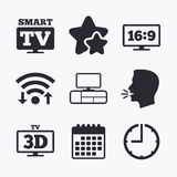 Smart TV mode icon. 3D Television symbol. Royalty Free Stock Photography