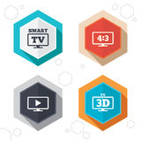 Smart TV mode icon. 3D Television symbol. Hexagon buttons. Smart TV mode icon. Aspect ratio 4:3 widescreen symbol. 3D Television sign. Labels with shadow. Vector Royalty Free Stock Images