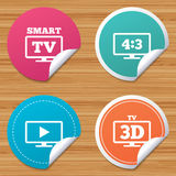 Smart TV mode icon. 3D Television symbol. Round stickers or website banners. Smart TV mode icon. Aspect ratio 4:3 widescreen symbol. 3D Television sign. Circle Royalty Free Stock Image