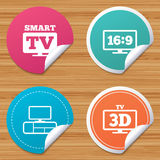 Smart TV mode icon. 3D Television symbol. Royalty Free Stock Images