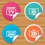 Smart TV mode icon. 3D Television symbol. Round stickers or website banners. Smart TV mode icon. Widescreen symbol. Full hd 1080p resolution. 3D Television sign Stock Images
