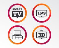 Smart TV mode icon. 3D Television symbol. Smart TV mode icon. Aspect ratio 16:9 widescreen symbol. 3D Television and TV table signs. Infographic design buttons Stock Image