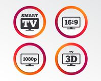 Smart TV mode icon. 3D Television symbol. Smart TV mode icon. Aspect ratio 16:9 widescreen symbol. Full hd 1080p resolution. 3D Television sign. Infographic Stock Photo