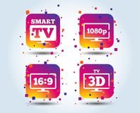 Smart TV mode icon. 3D Television symbol. Smart TV mode icon. Aspect ratio 16:9 widescreen symbol. Full hd 1080p resolution. 3D Television sign. Colour gradient stock illustration