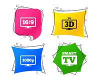 Smart TV mode icon. 3D Television symbol. Vector. Smart TV mode icon. Aspect ratio 16:9 widescreen symbol. Full hd 1080p resolution. 3D Television sign stock illustration